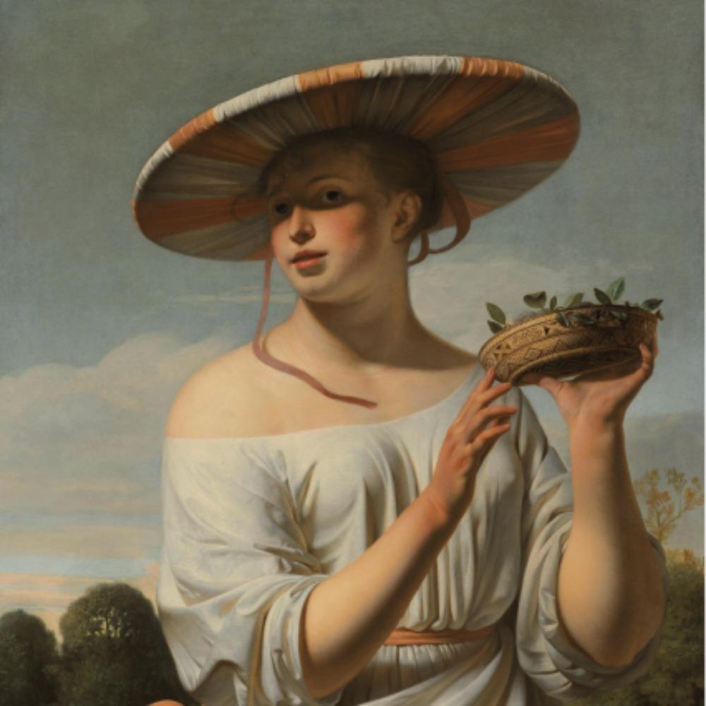 Meisje met een brede hoed - Tegeltje