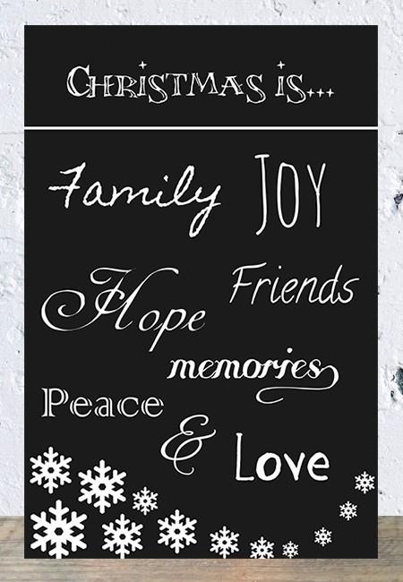 Spreukbord Christmas is (zwart)