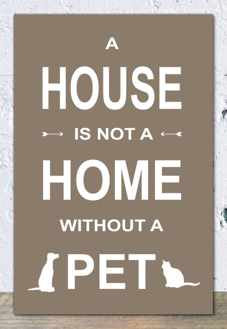 A house is not a home without a pet (taupe) - Tekstbord